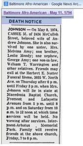 Obit for Cassie M Johnson