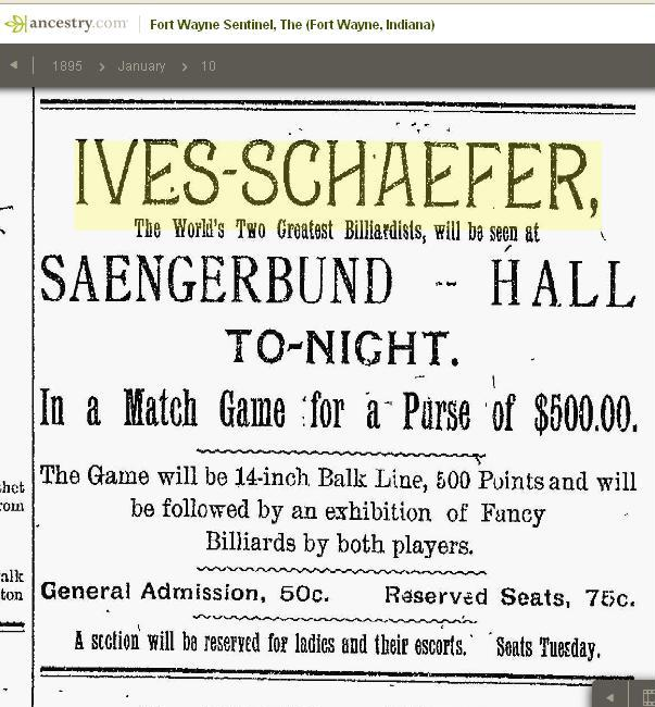 1895 - Frank Ives in an ad