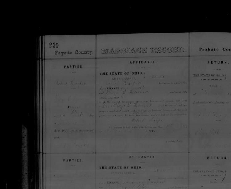 Copy of Eliza E Hevener wed Robert Harper 1871 a
