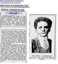 Obituary - Emma L Wickersham 1912