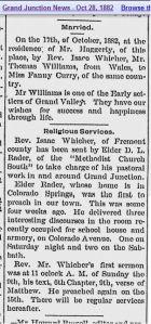 My newspaper item screen print - Grand Junction News - Oct 28, 1882