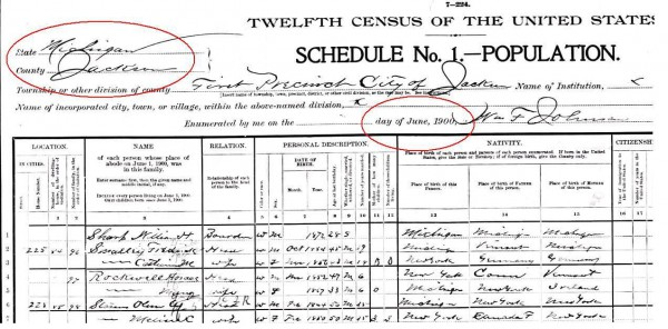 Header of census page