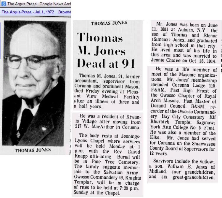Thomas M Jones Obit w Picture 1972