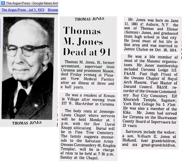 Thomas M Jones Obit w Picture 1972