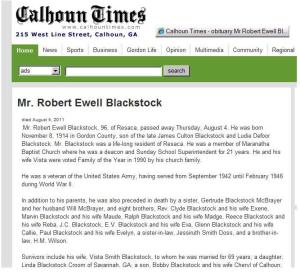 Robert Ewell Blackstock Obit