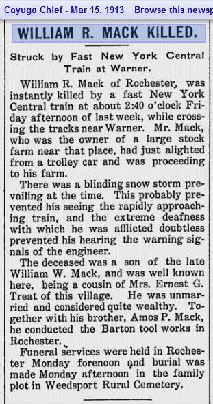 William R. Mack Obit 1913