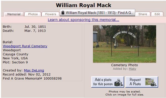 William Royal Mack grave 1913