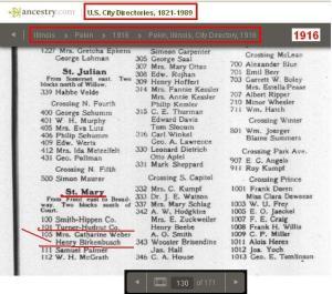 10 - 1916 - Henry Birkenbusch 105 St. Mary