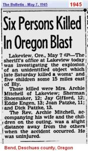1945- Oregon - explosion kills five