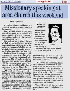 2004 - Betty Mitchell speaks in NC
