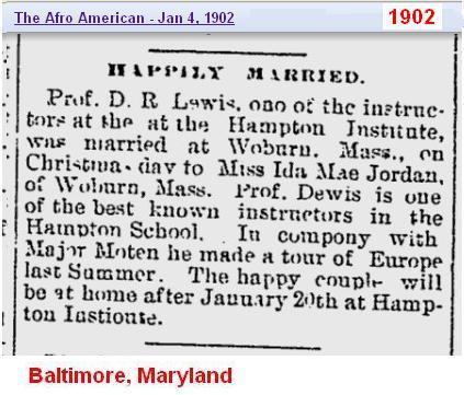 Marriage - D R Lewis 2 Ida Mae Jordan 1902