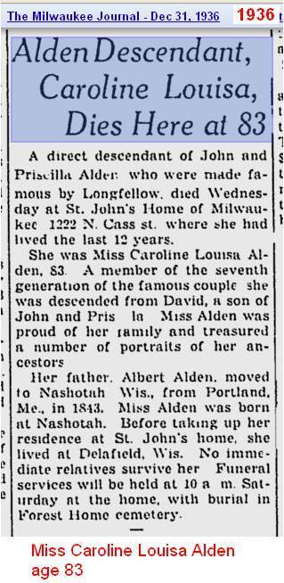 Obit - Caroline Louisa Alden 1936 - Wis