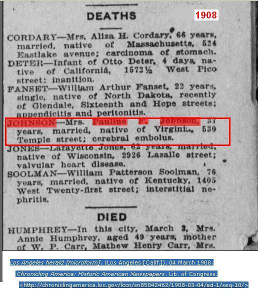 Pauline F Johnson Mar 3 1908 Calif 2
