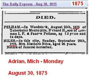 1875 - Adrian Mich death newspaper