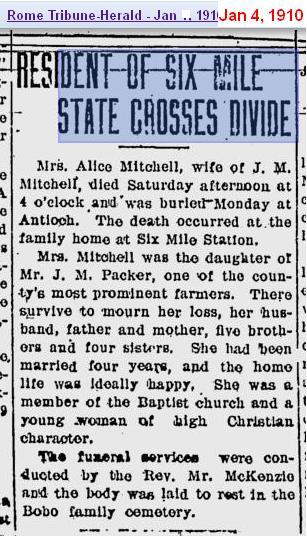 Obit - Alice Packer Mitchell - Jan 1910