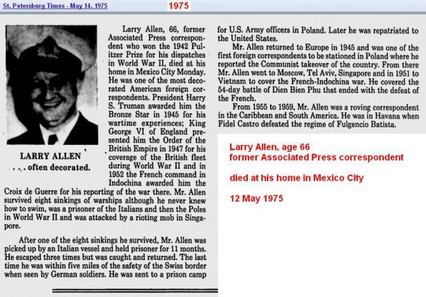 Obit - Larry Allen - May 1975 - Mexico City