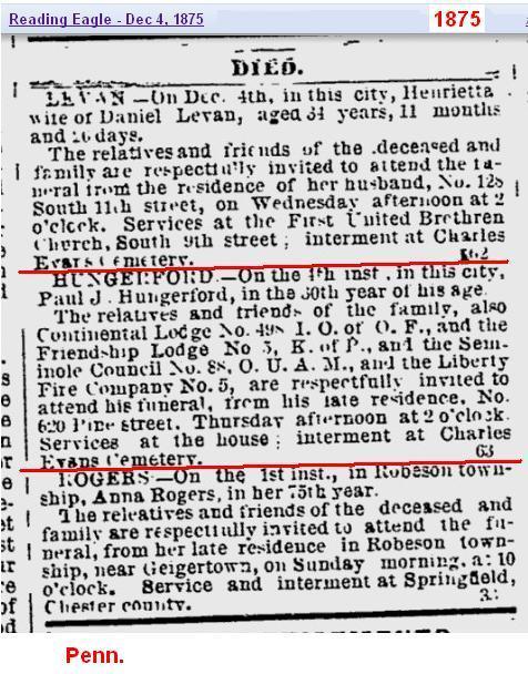Obit - Paul J Hungerford Dec 1875 Penn
