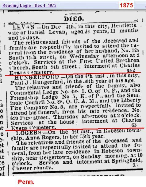 Obit - Paul J Hungerford Dec 1875 Penn
