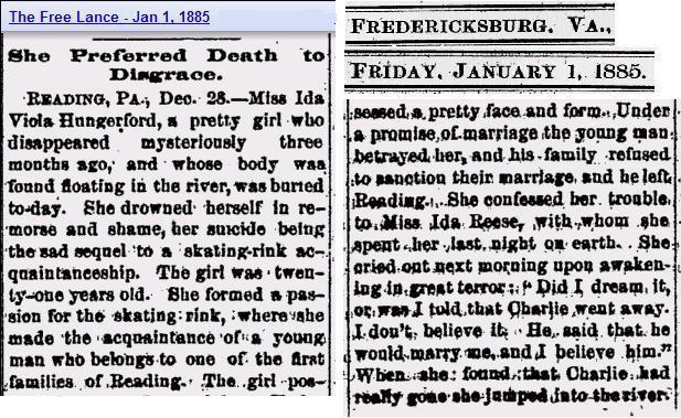 Story - Viola Hungerford death 1885 Va paper