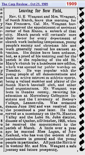 Rev. G. E. Weagant 1909 Canada