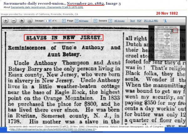 Slave Story from New Jersey 1882