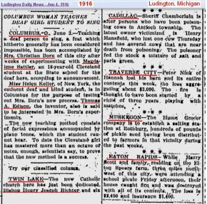 1916 Ludington Mich news