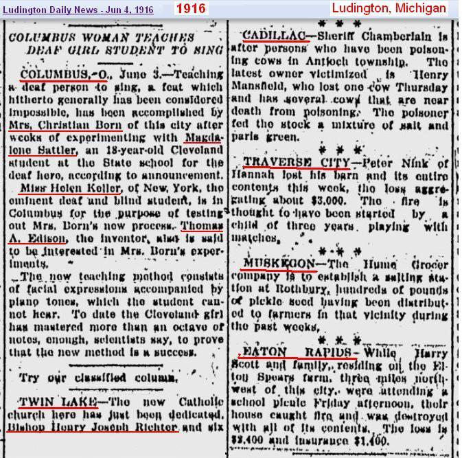 1916 Ludington Mich news