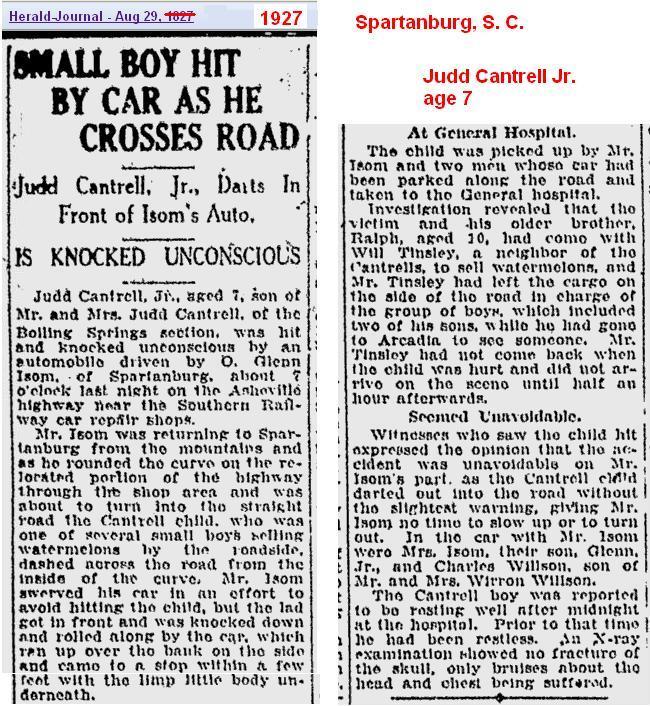 1927 - Hit by Car - Judd Jr Aug SC