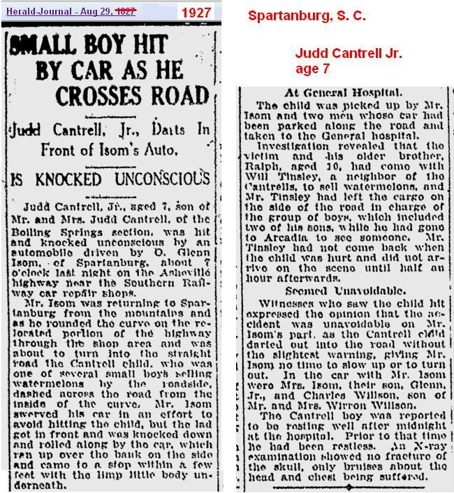 1927 - Hit by Car - Judd Jr Aug SC