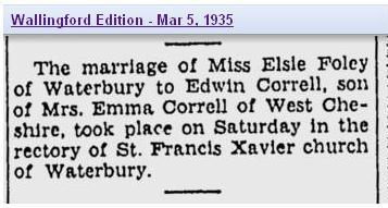 Marriage - Foley 2 Correll 1935 Conn