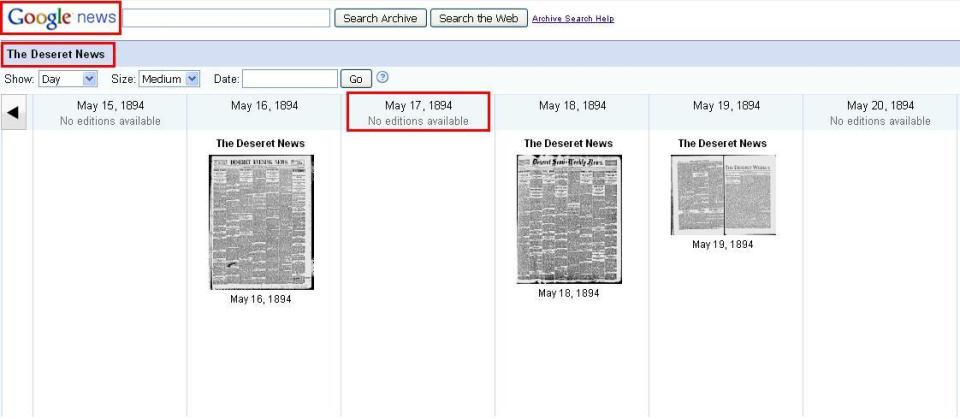 0 - Opening line page of May 16 1894 blog