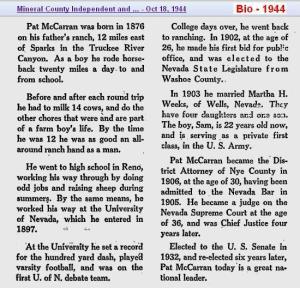 Blog 2 - 1944 Bio - Pat McCarran re-elect pol. ad - Nev