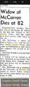 Blot 5 - Obit - Martha Harriet McCarran - Jul 1963 - Nev