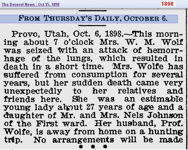 Obit - Mrs Johnson Wolf - 1898 - Utah