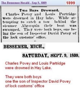 obit - Charles Povey - Louis Partridge Sep 1899 Mich