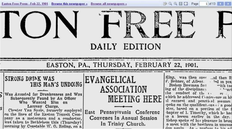 front page Easton newspaper 1901