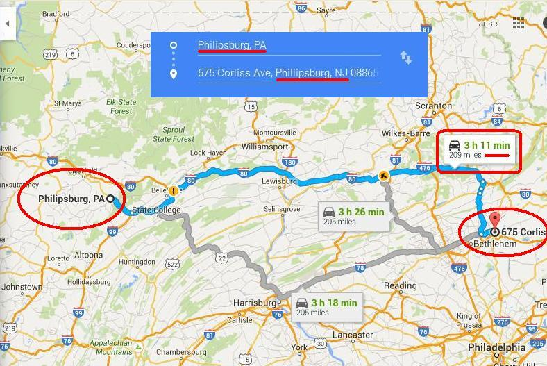 map - Philipsburg PA to Phillipsburg NJ 1