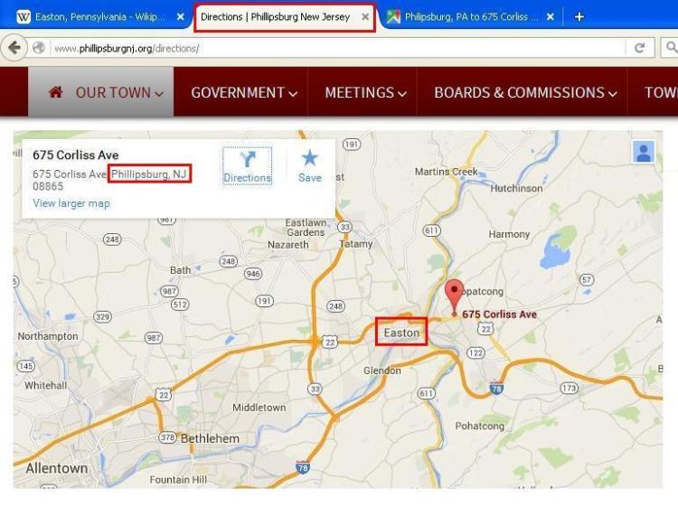 map Phillipsburg New Jersey