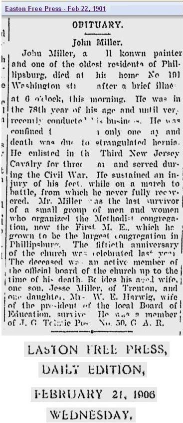 Obit - John Miller Feb 1901
