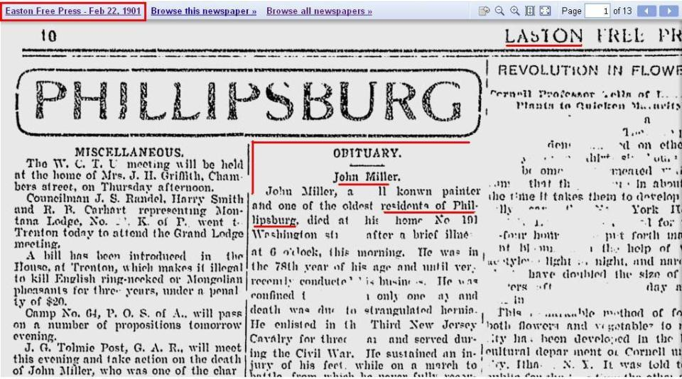 Obit - Phillipsburg - in Easton Free Press 1901