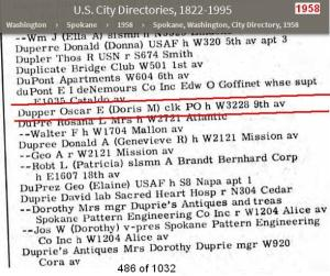 1958 - City Dir Spokane Wash - Dupper family