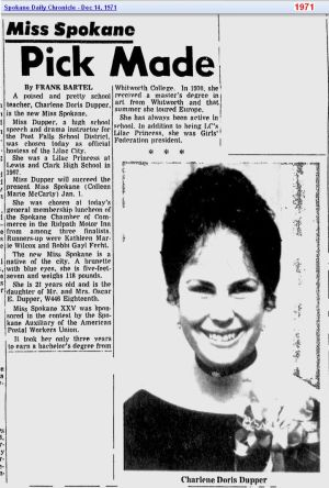 Charlene Doris Dupper - Miss Spokane - Dec 1971