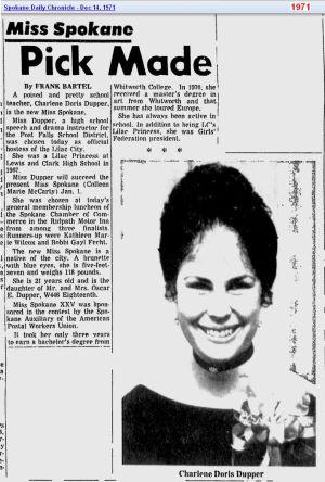Charlene Doris Dupper - Miss Spokane - Dec 1971