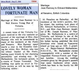 Copy of marriage - Ramsay 2 Mallandaine Aug 1904 - Canada