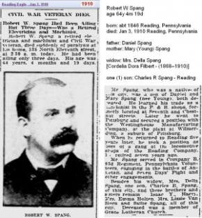 Copy of obit - Robert W Spang Jan 1910 - Reading Penn