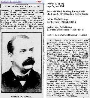 Copy of obit - Robert W Spang Jan 1910 - Reading Penn