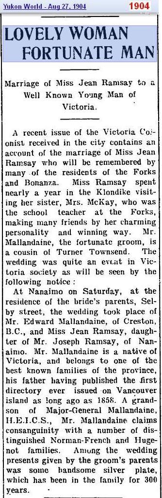 marriage - Ramsay 2 Mallandaine Aug 1904 - Canada