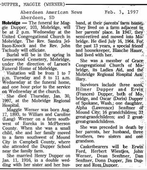 obit - Maggie Werner Dupper - Feb 1997 - SD