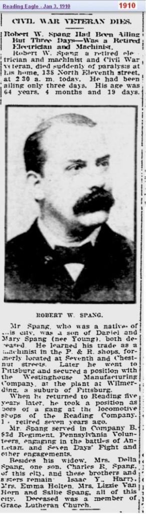 obit - Robert W Spang Jan 1910 - Reading Penn