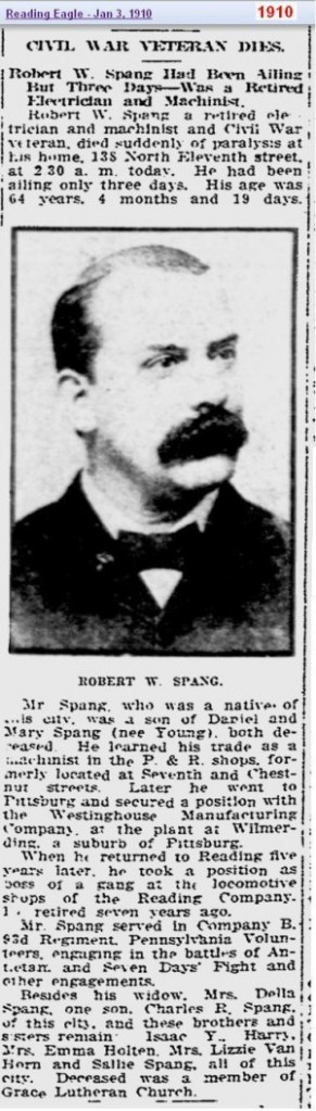 obit - Robert W Spang Jan 1910 - Reading Penn